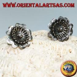 """Silver earrings in the shape of a flower """"aquilegia"""" lobe"""