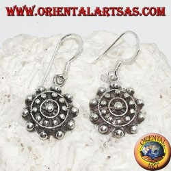 Silver earrings with concentric balls and lines