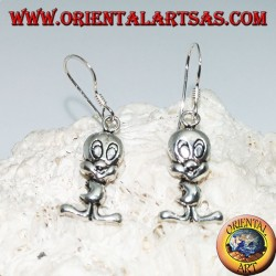 """Boucles d'oreilles pendantes en argent en forme de poussin """"Tweety"""""""