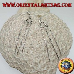 Silver lobe earrings with knot and three hanging knitted threads