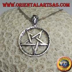 Silver pendant in the shape of an inverted pentacle in the circle with mixed engravings