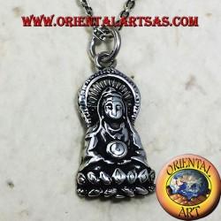 Buddha pendant on fine silver lotus
