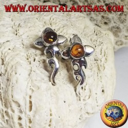 Silver earrings with round amber cabochon and flower with extended bass