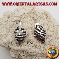 Silver earrings with openwork design with horizontal double-sided lines...