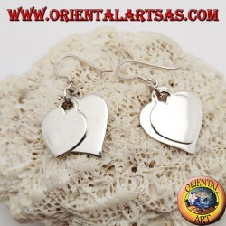 Silver earrings with two smooth overlapping hanging hearts