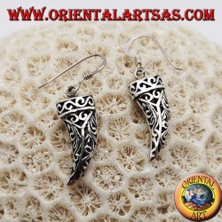 Silver earrings in the shape of an openwork lucky horn with floral decorations