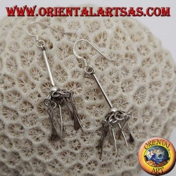 Silver umbrella earrings with hanging plates