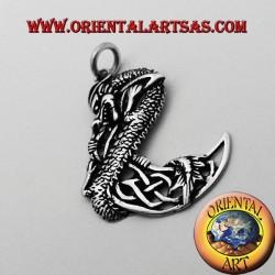 ciondolo drago celtico sulla luna in argento