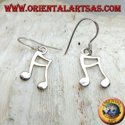 Silver earrings with a pair of semichrome pendants