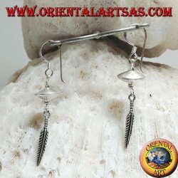 """Silver earrings with """"inception"""" spinning top with feather hanging below"""