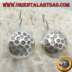 Silver earrings, rounded circle with bas-relief hammered discs