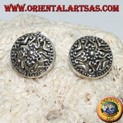 Round lobe silver earrings with perforated ethnic decorations