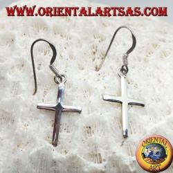 Orecchini in argento con croce cristiana semplice liscia pendente