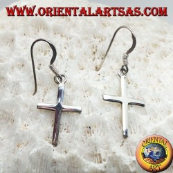Silver earrings with simple smooth Christian cross pendant