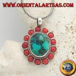 Ciondolo in argento a fiore grande con turchese ovale naturale tibetano e coralli tondi