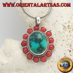 Large flower silver pendant with Tibetan natural oval turquoise and round corals