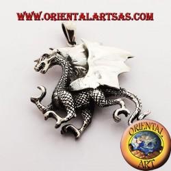 Ciondolo drago celtico con ali tridimensionale in argento