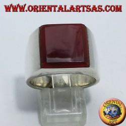 Anello in argento liscio con corniola quadrata sovrapposta