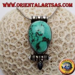 """Silver """"Gao Kalachakra"""" box pendant with antique Tibetan teardrop turquoise"""