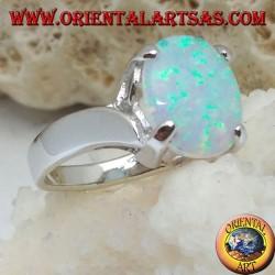 Silberring mit ovalem weißem Opal-Set und gebogenem Rahmen an den Seiten