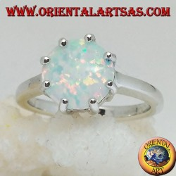 Silver ring with multiple setting white opal