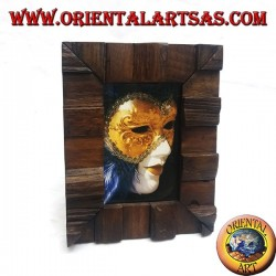 Cornice portafoto a gradini in legno di teak antico da 25x20 cm