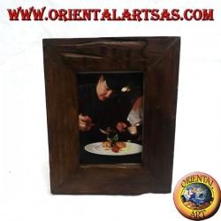 Cornice portafoto in legno di teak antico da 25x20 cm
