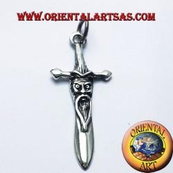 Espada colgante en plata de salvia