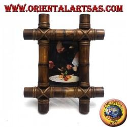 Cornice portafoto in legno di teak e con inserzione di quattro canne di bambù da 28x23 cm