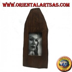 Cornice portafoto a stecca a punta di tronco in legno di teak antico da 35x15 cm