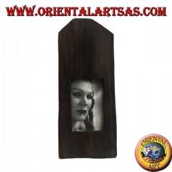 Cornice portafoto a stecca squadrata di tronco in legno di teak antico da 35x15 cm