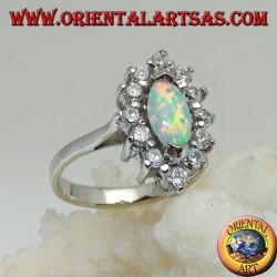 Серебряное кольцо с челночным арлекиновым опалом на кончиках в окружении цирконов