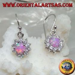Серебряные серьги-подвески с круглым розовым опалом в окружении фианита (маленький)