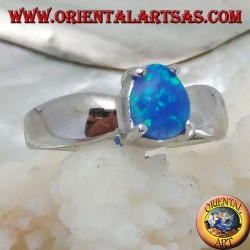Silver ring with oval blue opal set and bow setting