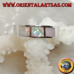 Band silver ring with three rectangles of harlequin opal