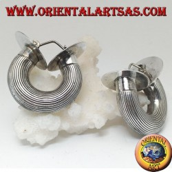 Wide circle striped silver earrings with cylindrical section and final discs