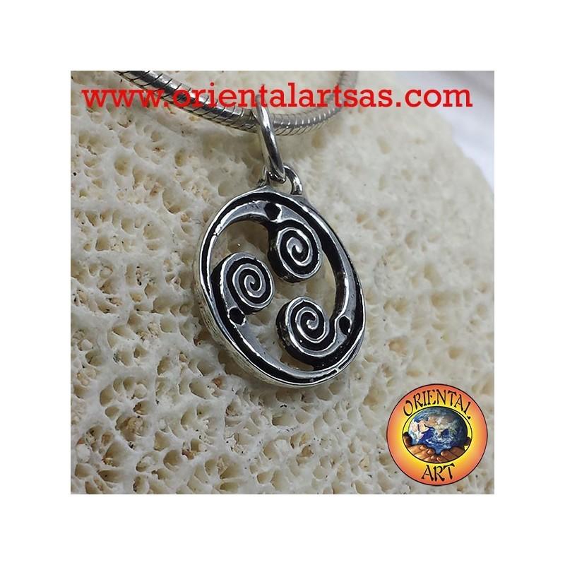 pendentif en argent rotation Triskele, triskell triskelion triskelion