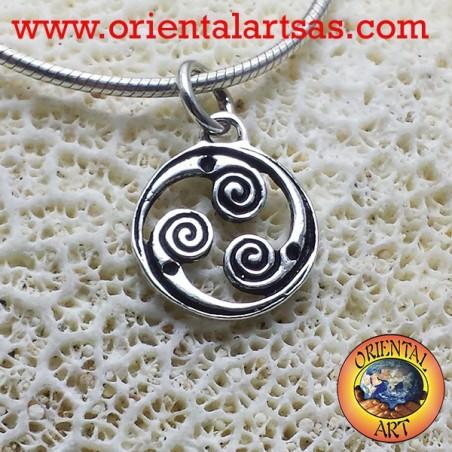 silver pendant rotating Triskele, triskell triskelion triskelion