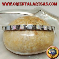 Silver watch bracelet with eighteen square harlequin opals