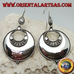 Large round disc silver earrings with concentric discs and three balls below
