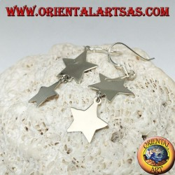 Silver earrings with double smooth star and flat pendant