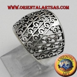 Silver ring with rounded perforated band