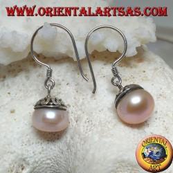 Серебряные серьги с розовой пресноводной жемчужиной и этническим декором