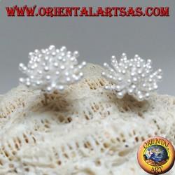 Серебряные серьги в форме морского анемона с атласной отделкой (крупные)