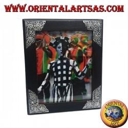 Cornice portafoto in legno di mango con quattro inserti di argentone a decorazione floreale da 31 x 26 cm