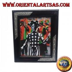 Cornice portafoto in legno di mango con due inserti di argentone a decorazione floreale da 33 x 28 cm