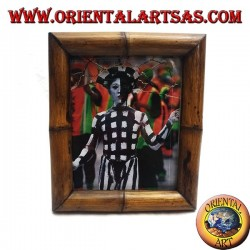 31 x 26 cm teak and bamboo photo frame