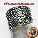 anello fascia a rete in argento
