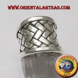кольцо группа Karen ткут серебряную пластину