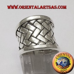 ring band Karen weave silver plate